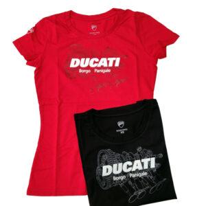 98770074BP Ducati Tshirt mezza manica Borgo Panigale Souvenir 21 Donna Rossa