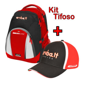 Kit tifoso Zaino Backpack Zainetto Cappellino Hat Baseball Cap Ducati Aruba WSBK 2020 Official Superbike
